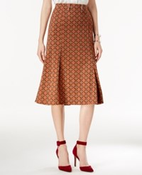 Ny Collection Printed A Line Skirt Rust Dawns