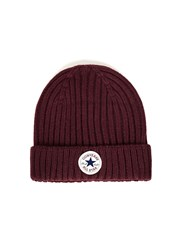 Converse Red Burgundy Ribbed Beanie