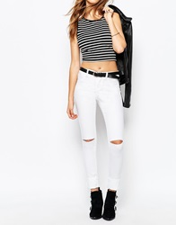 Noisy May Devil Skinny Jeans With Ripped Knees White
