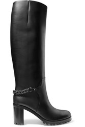Christian Louboutin Napeleo 70 Chain Trimmed Leather Knee Boots Black