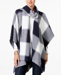 Tommy Hilfiger Plaid Scarf Poncho Only At Macy's Masters Navy Snow White