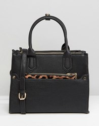 Oasis Tote Bag With Detachable Leopard Purse Black