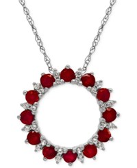 Macy's Ruby 1 1 5 Ct. T.W. And White Topaz 1 5 Ct. T.W. Pendant Necklace In Sterling Silver
