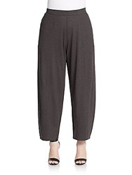 Eileen Fisher Plus Size Wide Leg Hemp And Cotton Pants Graphite
