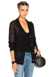 Alexander Wang T By Mohair Cardigan Sweater In Black