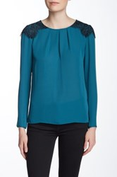 Laundry By Shelli Segal Contrast Lace Long Sleeve Blouse Green