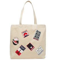 Maison Kitsune Printed Cotton Canvas Tote Bag Neutrals