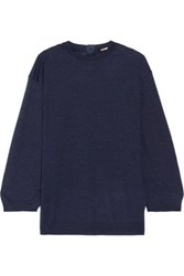 Adam By Adam Lippes Cashmere And Silk Blend Sweater Navy