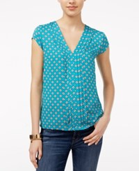 Tommy Hilfiger Pleated Floral Print Top Lake Blue Multi