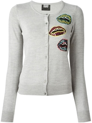 Markus Lupfer Tribal Sequin Lips 'April' Cardigan Grey