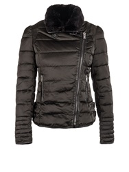 Morgan Cropped Furry Collar Quilted Jacket Black