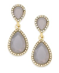 Inc International Concepts Gold Tone Gray Stone Teardrop Drop Earrings Only At Macy's Grey