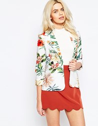 Girls On Film Lightweight Blazer In Tropical Print Print White