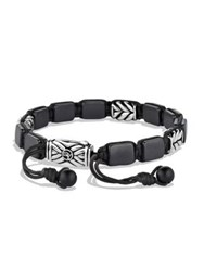 David Yurman Chevron Three Station Tile Bracelet Silver Black