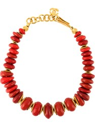 Chanel Vintage Ethnic Beaded Necklace Red