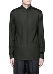 Haider Ackermann Lace Up Insert Fleece Wool Shirt Green