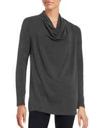 Lord And Taylor Solid Cowlneck Top Charcoal Heather
