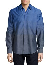 Versace Men's Ombre Dress Shirt Blue Grey