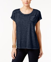 Styleandco. Style Co. V Neck Burnout Pocket Tee Only At Macy's Industrial Blue