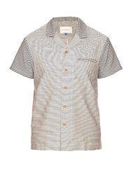 Solid And Striped The Ripley Short Sleeved Cotton Shirt Cream Multi