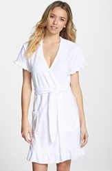 Women's Betsey Johnson 'Vintage' Ruffle Trim Terry Robe White