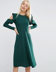 Asos Midi Skater Dress With Cold Shoulder And Frill Sleeve Detail Green