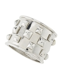 Kenneth Jay Lane Pyramid Studded Polished Rhodium Cuff Bracelet