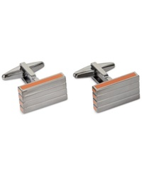 Kenneth Cole Polished Rhodium With Horizontal Line Detail Cufflinks Gun Metal