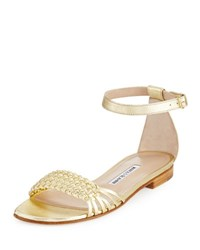 Manolo Blahnik Chaflabra Woven Leather Sandal Gold Platino