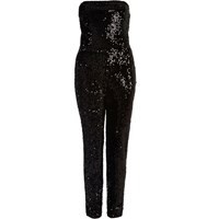 River Island Womens Black Sequin Bandeau Jumpsuit