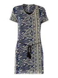 Red Soul Shift Dress With A Jacquard Print Blue