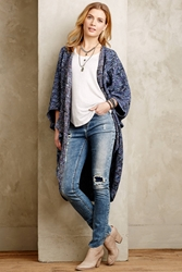 Anthropologie Arrowhead Cocoon Cardigan Blue Motif