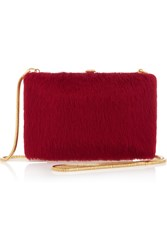 Marc By Marc Jacobs Leather And Calf Hair Clutch Red