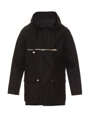 Balenciaga Zip Detail Hooded Cotton Gabardine Parka Black