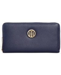 Tommy Hilfiger Lucky Charm Large Pebble Leather Zip Around Wallet Tommy Navy