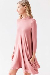Silence And Noise Knit Mock Neck Swing Mini Dress Rose