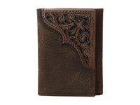 Ariat Scroll Cross Corner Trifold Wallet Medium Brown Distressed Wallet