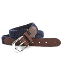Hackett Navy Elastic And Brown Leather Belt
