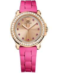 Juicy Couture Women's Pedigree Hot Pink Silicone Strap Watch 38Mm 1901190