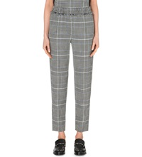 3.1 Phillip Lim Houndstooth Print Wool Blend Trousers Blk White