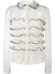 Red Valentino Semi Sheer Ruffled Shirt Nude And Neutrals