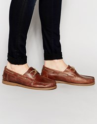 Asos Boat Shoes In Leather Tan