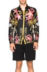 Versace Starfish Print Trend Shirt In Black Abstract Animal Print