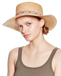 Aqua Flat Crown Floppy Hat With Festival Band Natural Mult