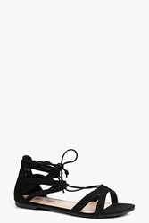 Boohoo Lace Up Flat Ghillie Sandal Black