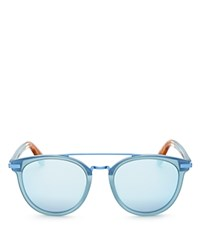 Toms Harlan Mirrored Wayfarer Sunglasses 50Mm Matte Powder Blue