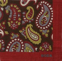 Roda Paisley Twill Pocket Square Red