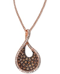 Effy Collection Effy Espresso Diamond Swirl Pendant Necklace 1 2 Ct. T.W. In 14K Rose Gold