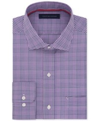 Tommy Hilfiger Men's Classic Fit Non Iron Purple Multi Check Dress Shirt Bright Purple