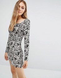 Qed London Long Sleeve Floral Dress Black White